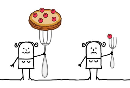 hand drawn Cartoon woman with a big pie on a fork, next to another one with just a small cherry