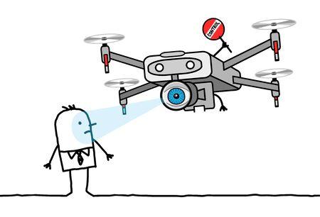 hand drawn Cartoon man facing a control Drone with a big eye