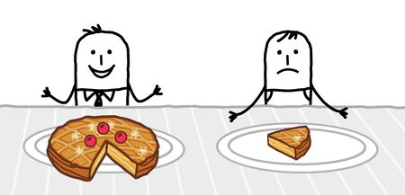 hand drawn Cartoon rich man with a big pie in his plate next to a poor one with only one slice