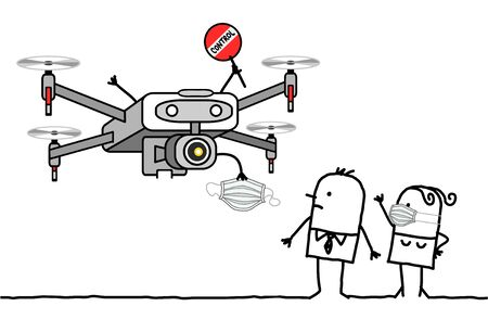 hand drawn Cartoon people facing a control Drone giving a protection mask against virus
