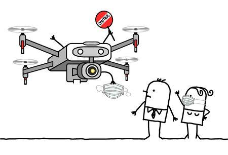 personnes dessinées à la main faisant face à un drone de contrôle donnant un masque de protection contre le virus