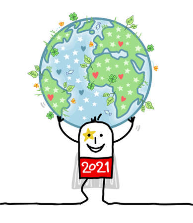 Hand drawn Cartoon 2021 Super Hero Carrying the Earth, Natural and Peaceful