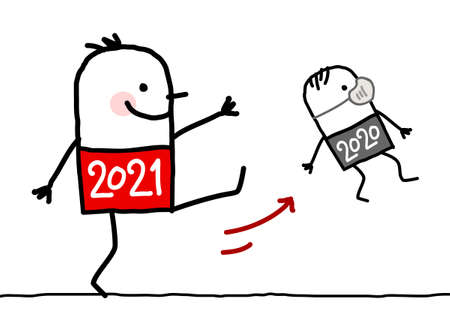 Hand drawn Cartoon Big 2021 Man Kicking Out a Small 2020 with Mask Çizim