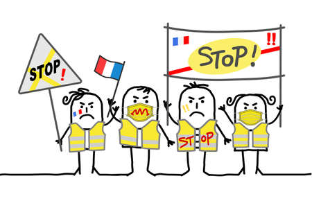 Hand drawn Cartoon Protesting People against French Government - Yellow Jackets