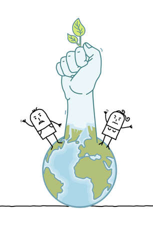 Hand drawn Cartoon people and planet Earth Rising Up a Green Fist