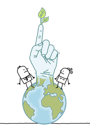 Hand drawn Cartoon people and planet Earth Rising Up a Green Finger