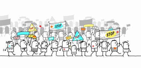 Hand drawn Cartoon Protesting and Walking group of People