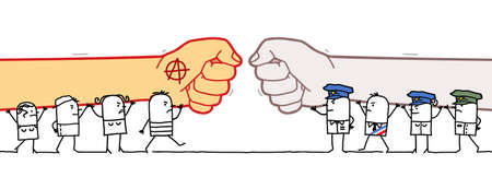Hand drawn Cartoon Anarchist People Against Police and Government