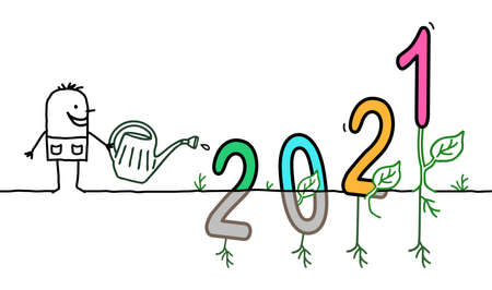 Hand drawn Cartoon Gardener Watering a big colored 2021 sign