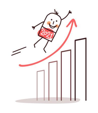 Hand drawn Cartoon 2021 flying Man with an optimistic economy chart