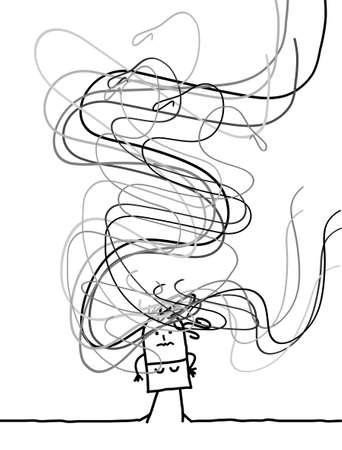 Illustration Confused Carton Girl with long Tangled Gray Hairs Around