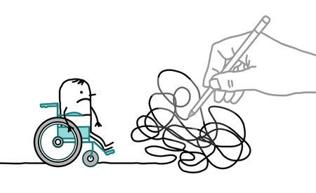 Hand drawn Big Drawing Hand with Cartoon Disabled Man - Tangled Path Vektorgrafik