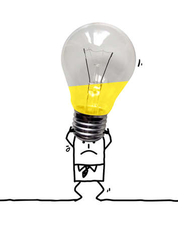 Hand drawn Cartoon Tired Businessman Carrying a Heavy Big Gray light Bulb Standard-Bild