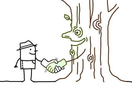 Hand drawn Cartoon Gardener Shaking Hand with a smiling Tree Trunk