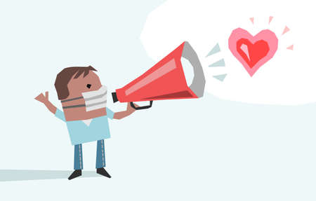 illustrated Cartoon Man with Protection Mask and megaphone, giving a Love Message