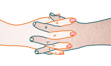 Hand drawn Human Male and Female crossing and mixing Hands - collage