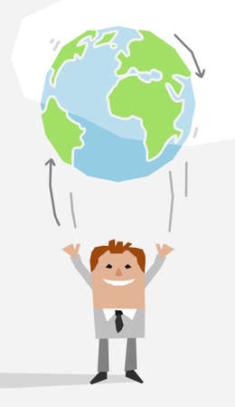 Cartoon Businessman throwing up the Earth like a Balloon- paper-cut style