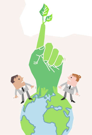 Cartoon business people and planet Earth, Rising Up a Green Finger- paper-cut style
