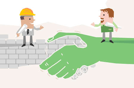 Cartoon Gardener and Foreman standing on a big Handshake- paper-cut style