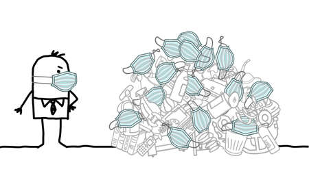 Hand drawn Cartoon man watching a big pile of garbage, with disposable Covid Masks