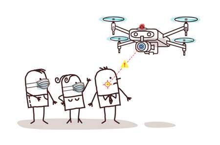 Hand drawn Cartoon Control Drone looking for People without Protection Masks