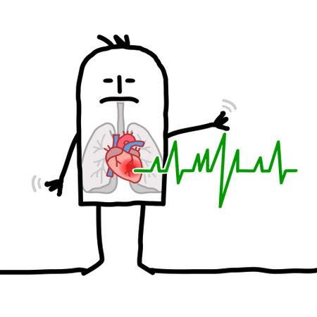 Hand drawn Cartoon Man suffering because of Cardiac problems