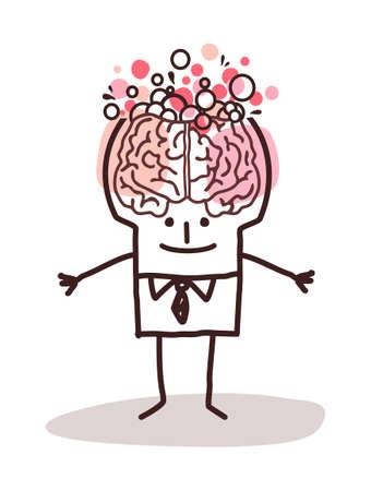 Hand drawn Cartoon man with Boiling big brain