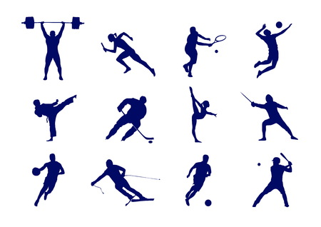 Kinds of sport sign: tennis, football, basketball and others - isolated image