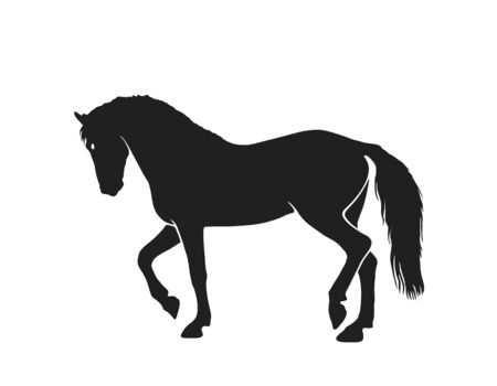 horse silhouette side view. isolated vector image in simple style