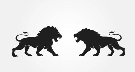 lions opposite each other. vector animal icon for emblem Vector Illustration