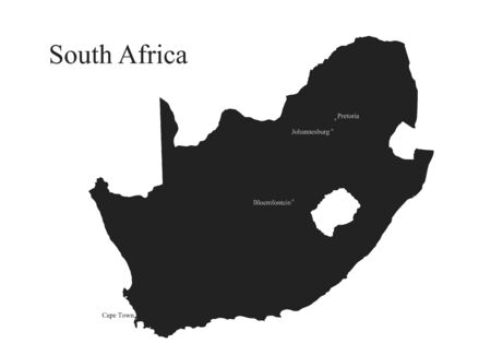 Republic of South Africa map icon. isolated vector black silhouette image of African country