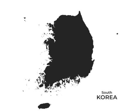 South Korea map icon. high detailed isolated vector geographic template of asian country Illustration