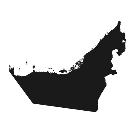 United Arab Emirates map icon. vector isolated black silhouette simple style high detailed image of country