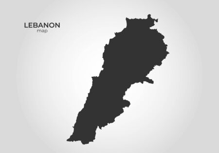 Lebanon map icon. isolated vector black silhouette image of asian country Ilustracja