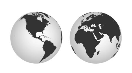 Hemispheres of the planet earth, eastern and western. globe icon. world map