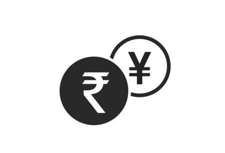 indian rupee to japanese yen currency exchange icon. money exchange and banking transfer symbol