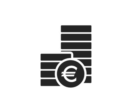 pile of euro coins icon. finance and money symbol. simple style infographic design element