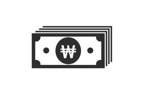south korean won banknote stack icon. money and cash symbol. financial and banking infographic design element Ilustração