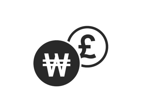 korean won to british pound currency exchange icon. money exchange and banking transfer symbol