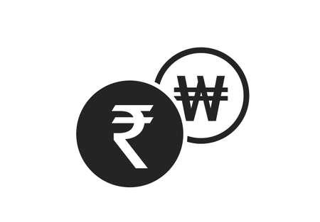indian rupee to korean won currency exchange icon. money exchange and banking transfer symbol