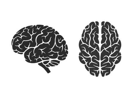brain icons. side and top view. isolated vector mind, intelligence, psychology and medical neurology symbol