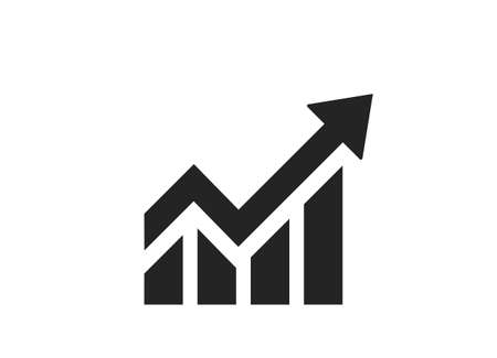 chart with arrow icon. business analytics and growth trend symbol. infographic element and sign for web design