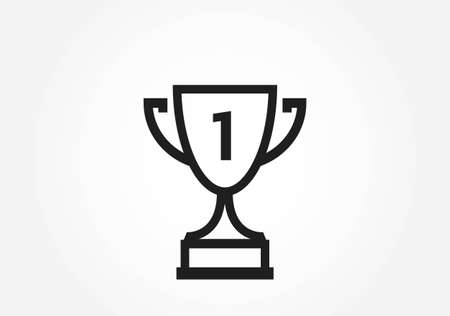 trophy cup line icon. victory, success and superiority symbol. web design sign and infographic element