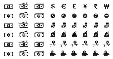 banknote and money icon set. euro, british pound sterling, japanese yen, indian rupee and korean won money symbol. financial and banking web design elements