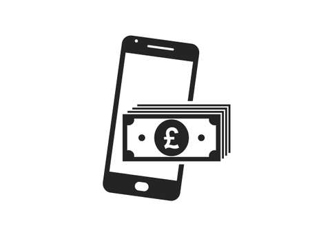 smartphone money icon. british pound banknote stack on mobile phone. e payment, financial symbols for web design