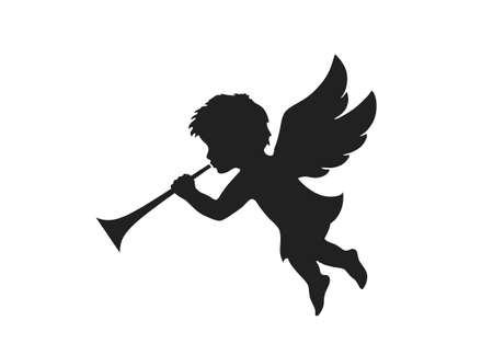 angel herald with trumpet. christmas symbol. isolated vector black silhouette image