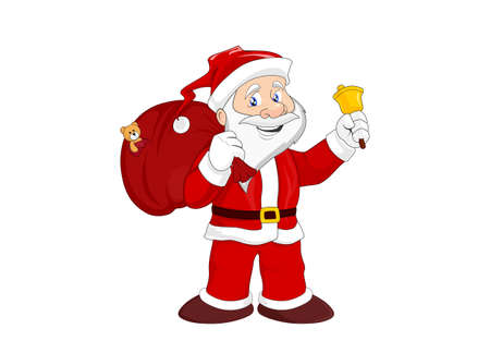 cheerful Santa Claus with gift bag and bell. Christmas symbol. isolated vector image Vetores