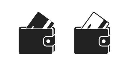 two wallets with credit card icons. finances and banking web design symbol