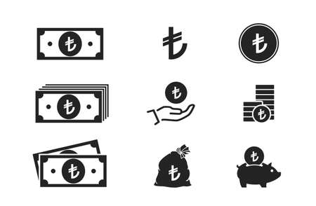 turkish lira banknotes, coins, cash and money icons. financial and banking infographic elements and symbols for web design