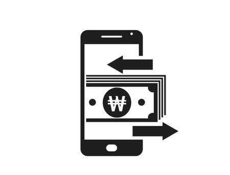 mobile money transfer icon. south korean won on mobile phone. financial and mobile transaction symbol for web design